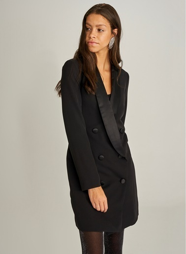 Monamoda Saten Yakalı Kruvaze Ceket Elbise Siyah